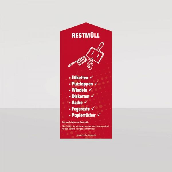Restmüll Aufkleber in rot (14 cm x 31,5 cm)